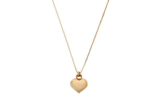 14k GOLD necklace swollen heart-L