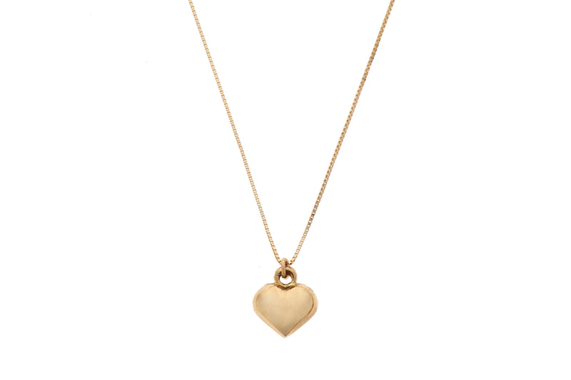 14k GOLD necklace fat heart-L