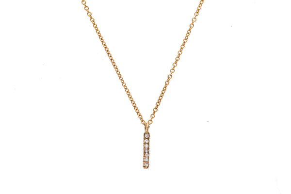 14K gold necklace with stripe of diamonds