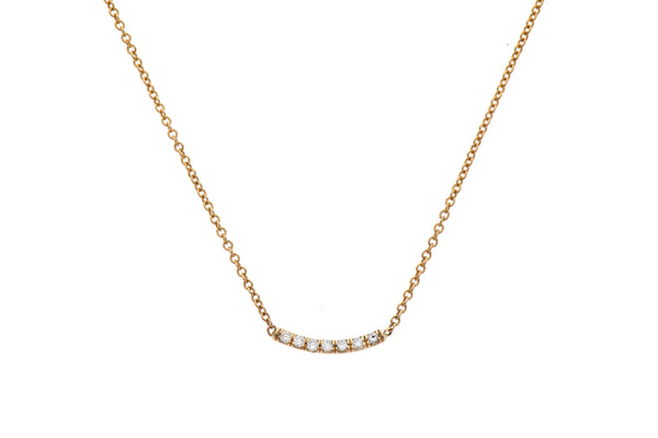 14K gold necklace with line of diamonds