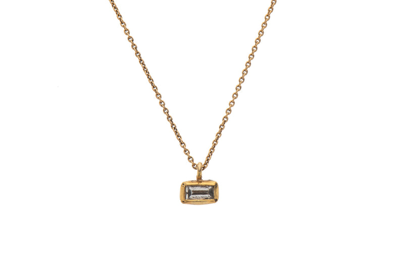 14K gold baguet necklace with white diamond