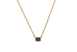 14K gold baguette necklace with black diamond