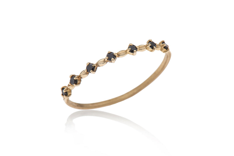 14k Gold thin ring with black diamonds