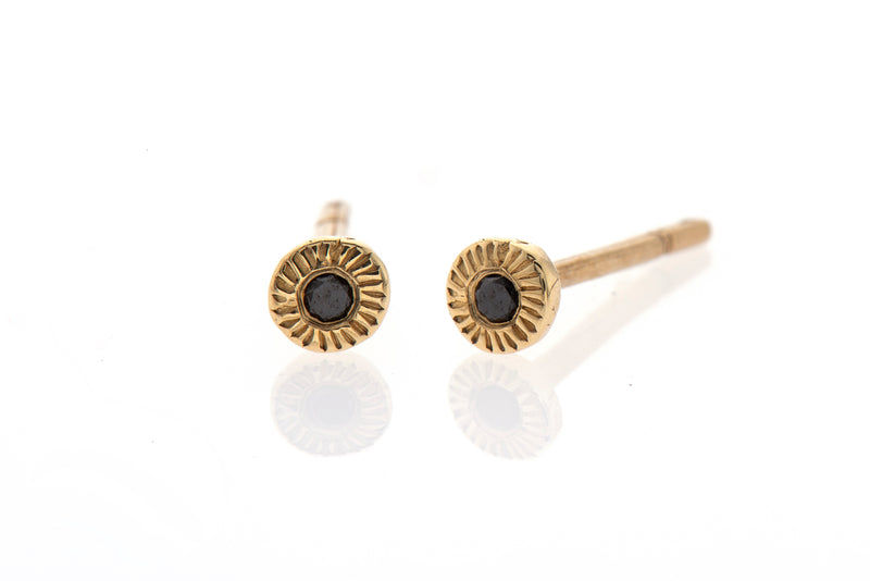14k gold small earrings with black diamonds