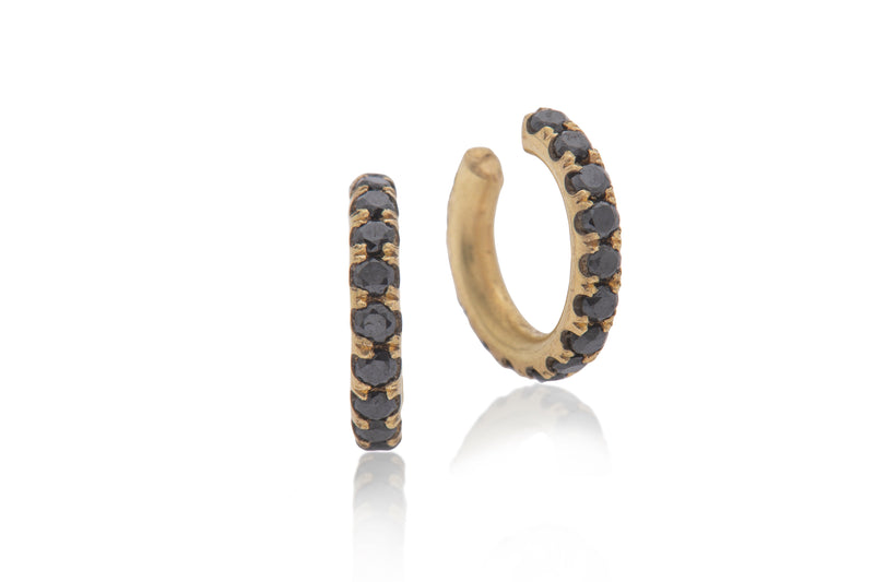 14k gold embracing earring with black diamonds