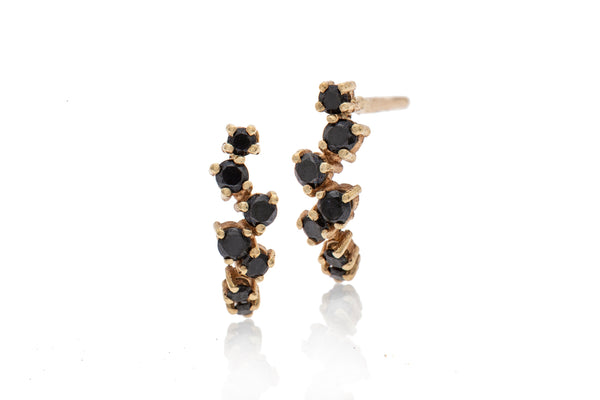 14k GOLD earring curved Stripe black diamond