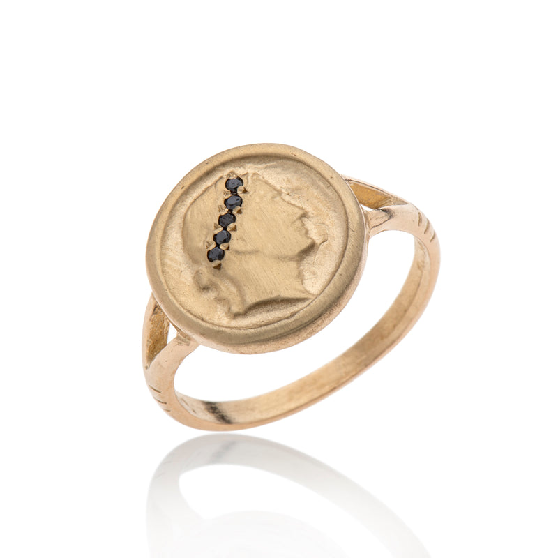 14K GOLD Cesar Coin Ring With Black Diamonds