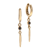 14k GOLD hoop earrings with pendant black diamond