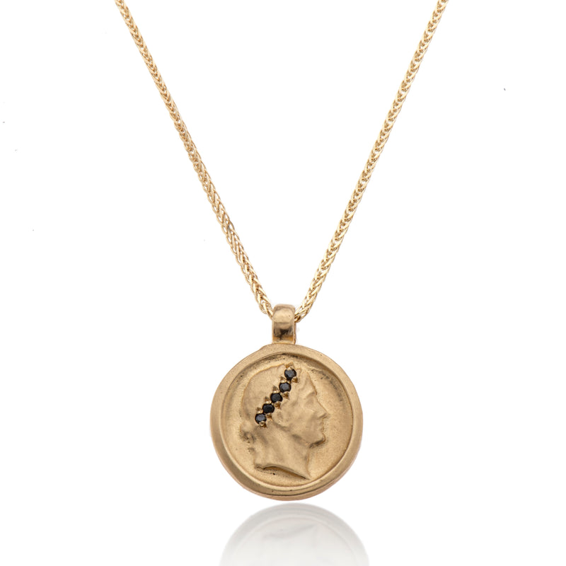 14k GOLD necklace with coin and black diamonds