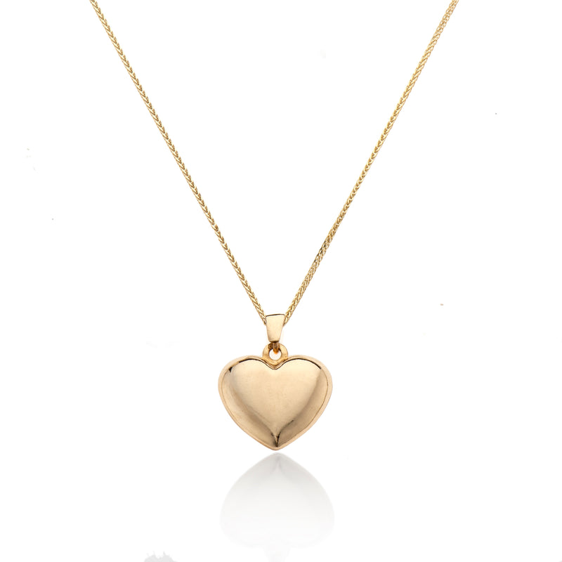 14k Gold necklace with swollen heart-XL