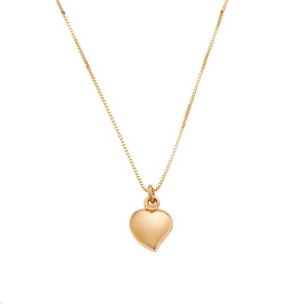 14k GOLD necklace swollen heart-M