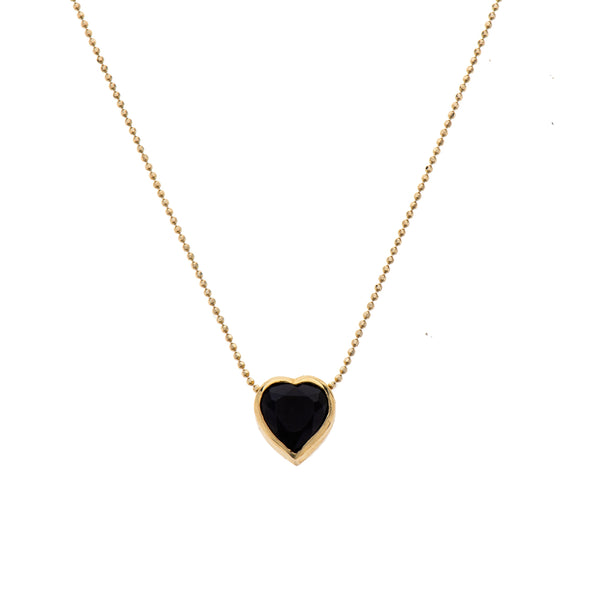 14K gold heart necklace with onyx