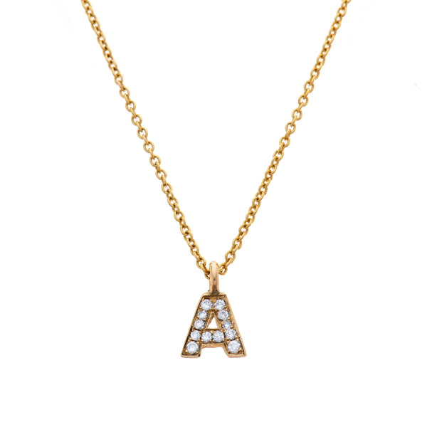 14K gold necklace letter with diamonds