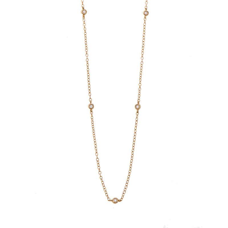14K Short necklace with spacing diamonds