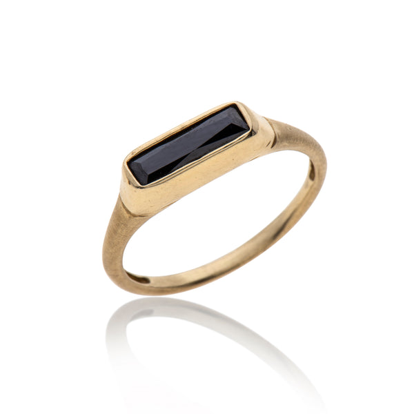 14K gold rectangle onyx