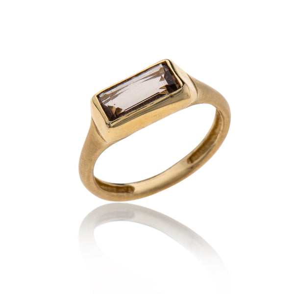 14K gold rectangle smokey topaz