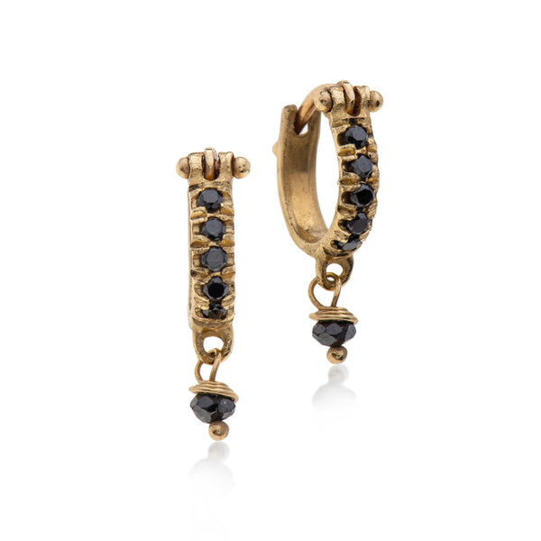14k gold hoops earring with black diamonds