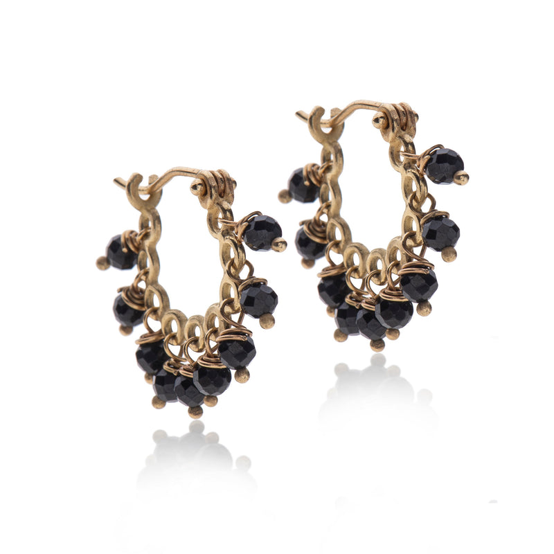 14k Gold dancing spinel Hoop Earring