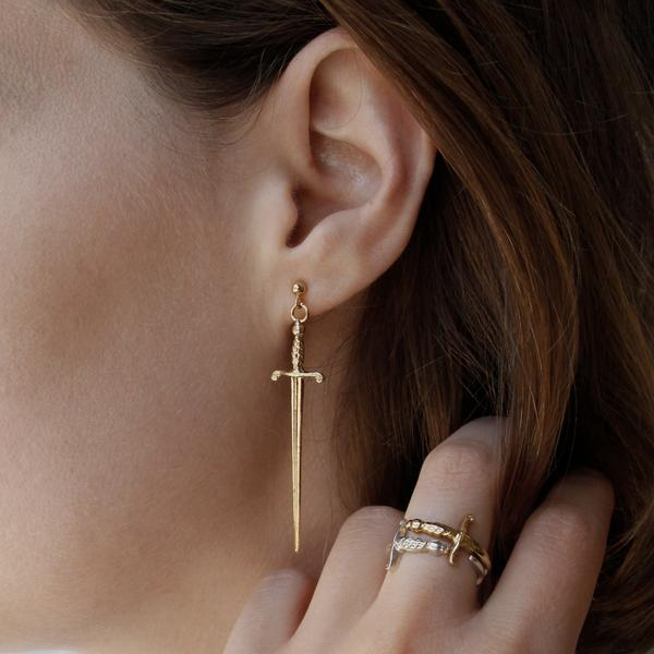 Sword gold plated earring