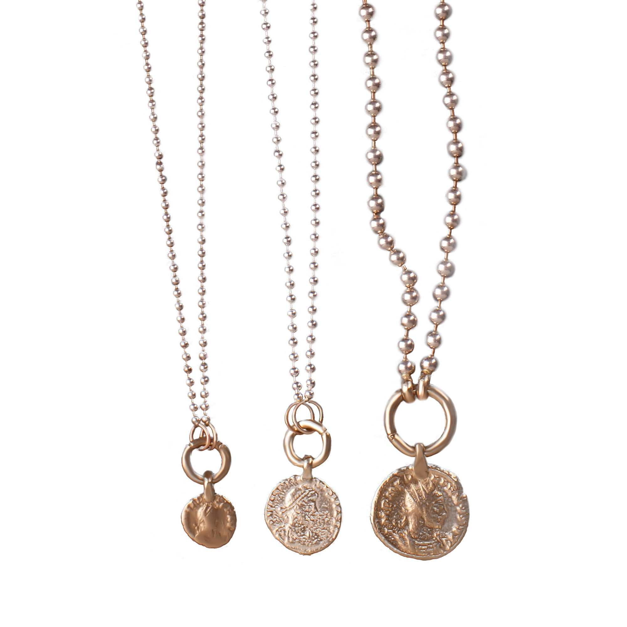 Silver necklace with 14k gold small coin pendant