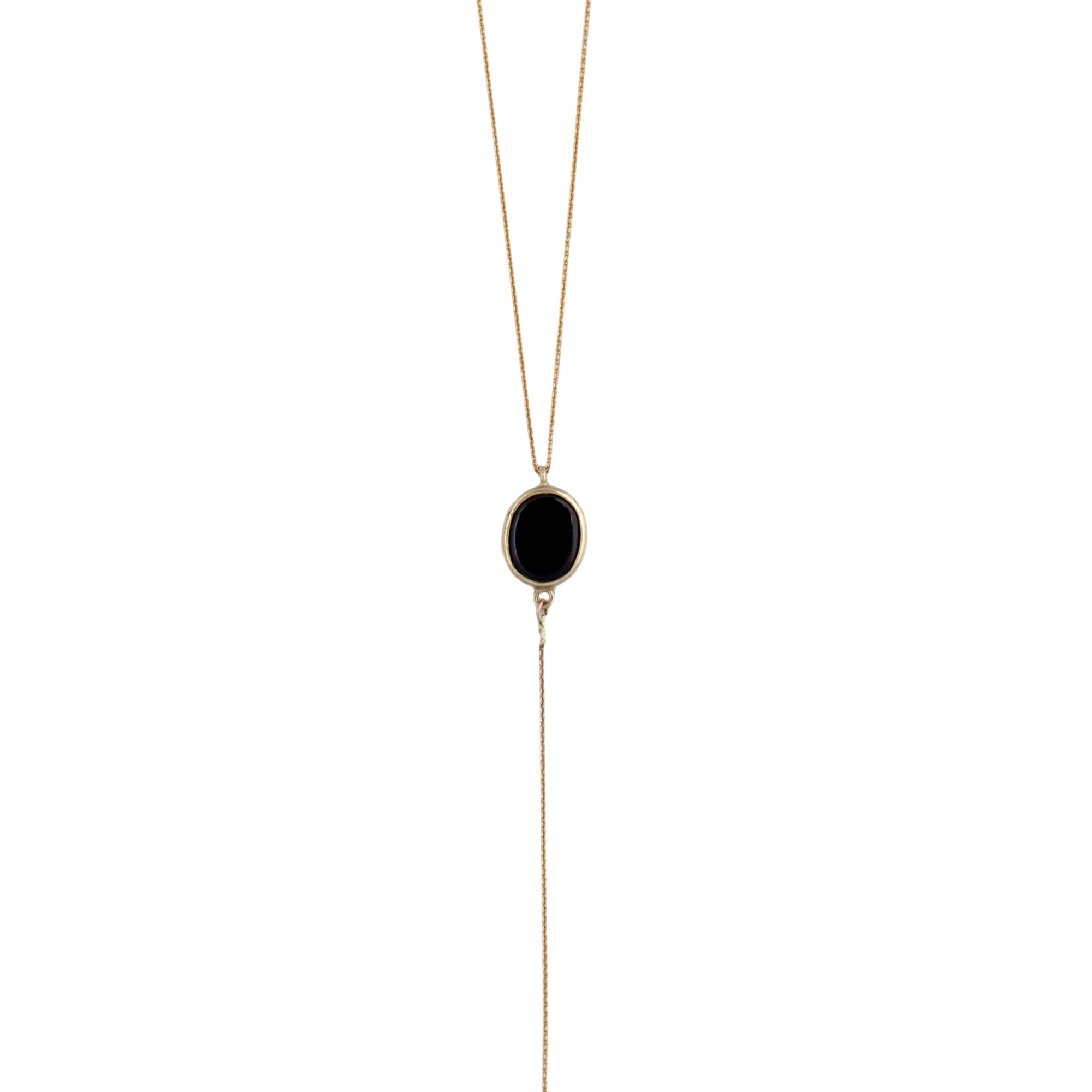 14K gold Necktie Necklace with stone pendant