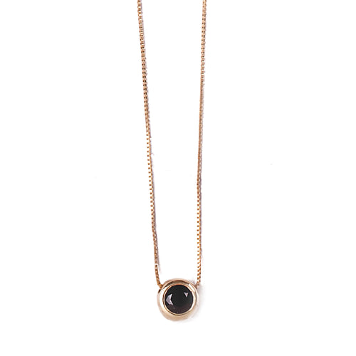 14k gold necklace with small gold framed stone