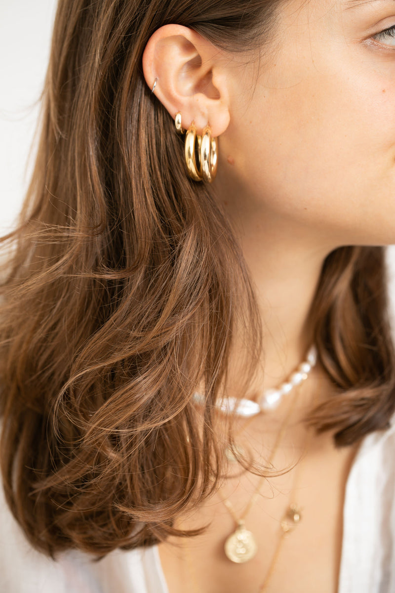 14K gold Fat Hoops - Goldy jewelry store