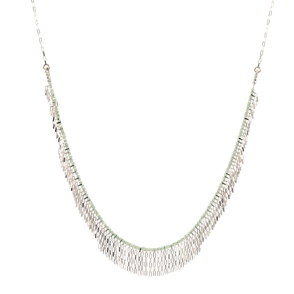 Falling strands silver necklace
