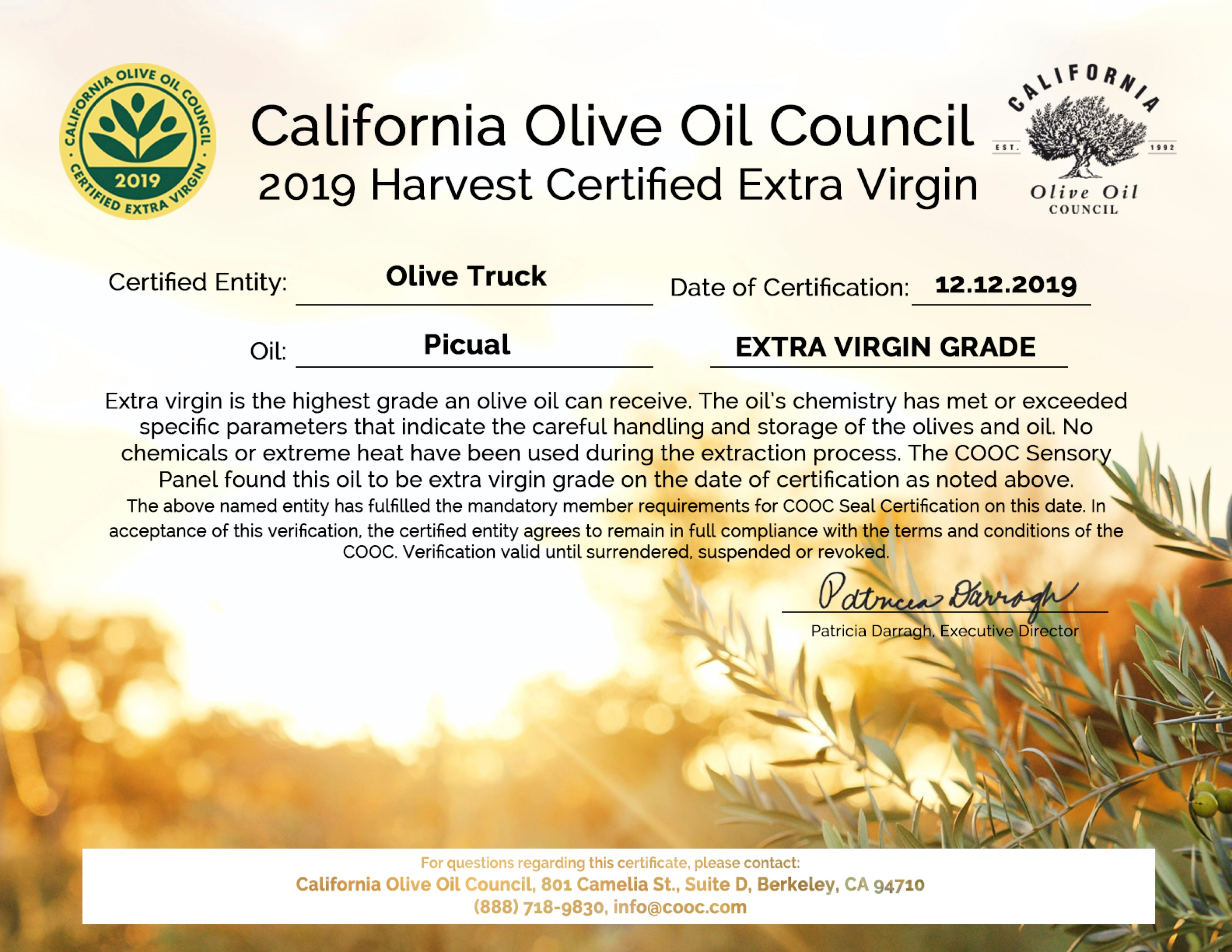 Picual - California Olive Oil Council, 2019 Harvest Certified Extra Virgin