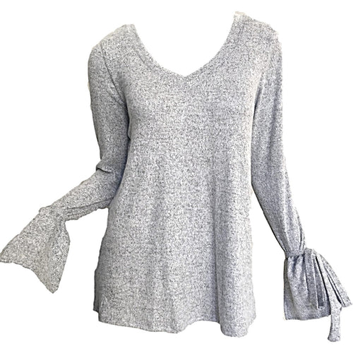 VNeck-Jersey-Top-With-Bow-Sleeve-In-Heather-Grey
