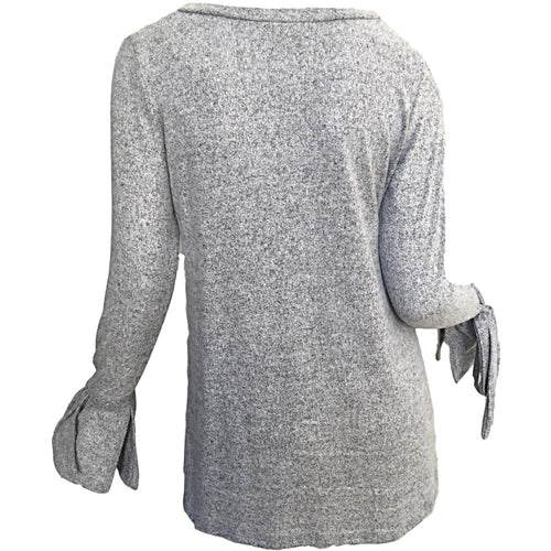 Bow Sleeve V-Neck Jersey Top