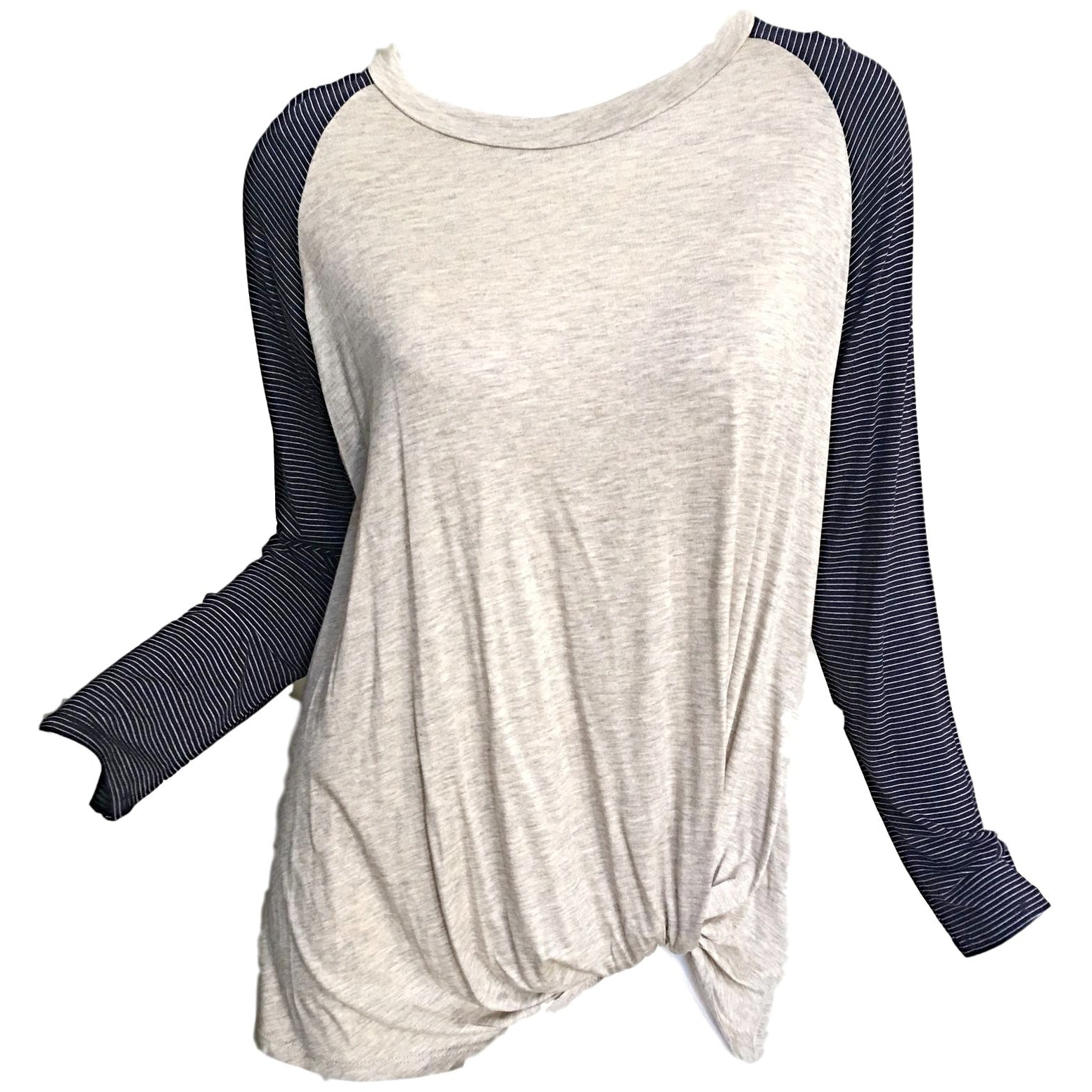 SALE ! Laura Jersey Top, Navy/Oatmeal - Glamco Boutique