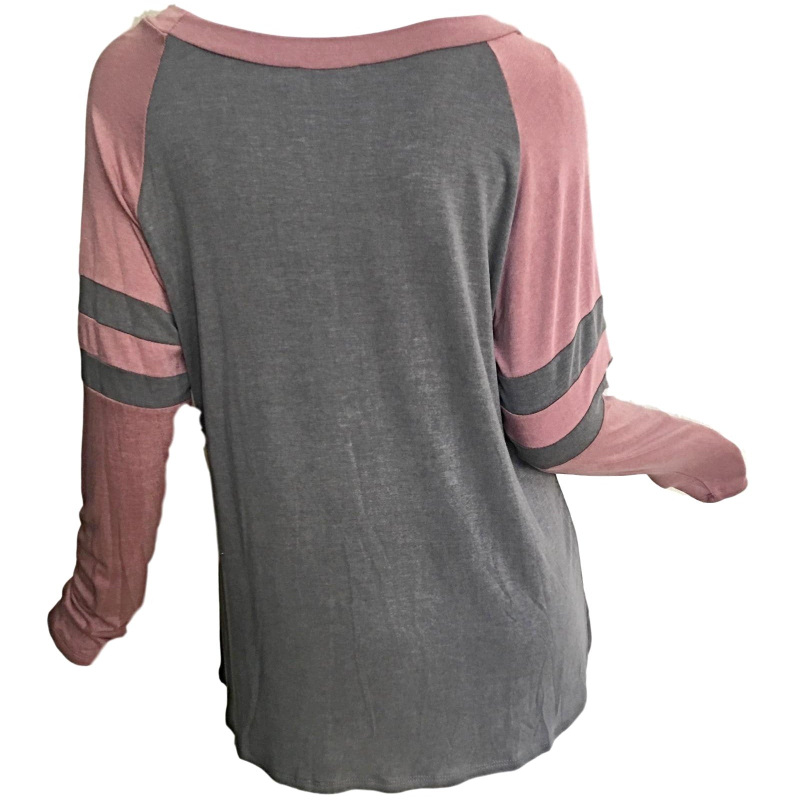 Sold Out ! Kathy Color Block Washed Jersey T Shirt Top, Charcoal/Pink - Glamco Boutique
