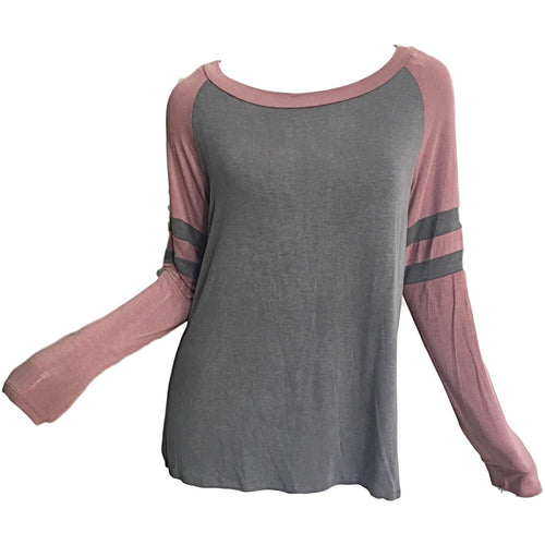 Kathy-Color-Block-Varsity-Washed-Jersey-Tshirt-Top-Charcoal-Pink