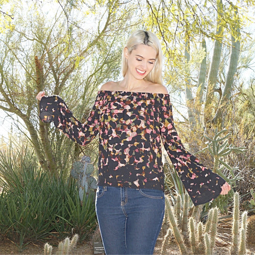 SALE! Borders Off The Shoulder Bell Sleeve Top by Lovestitch - Glamco Boutique