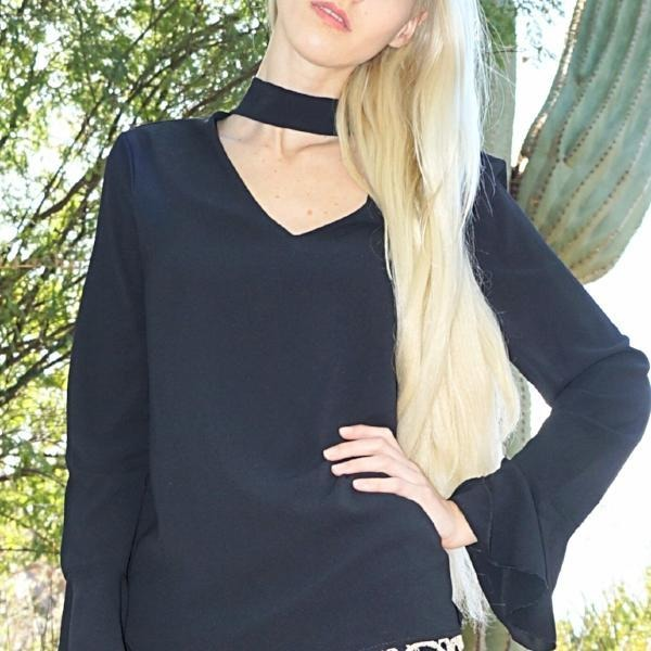 SALE ! Diana Choker Neck Long Sleeve Top - Glamco Boutique