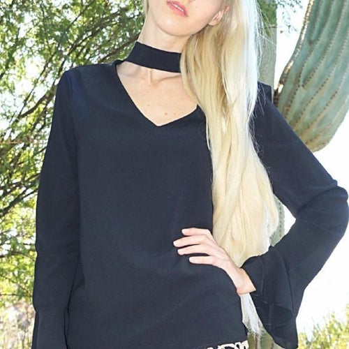 Diana-Choker-Neck-Long-Sleeve-Black