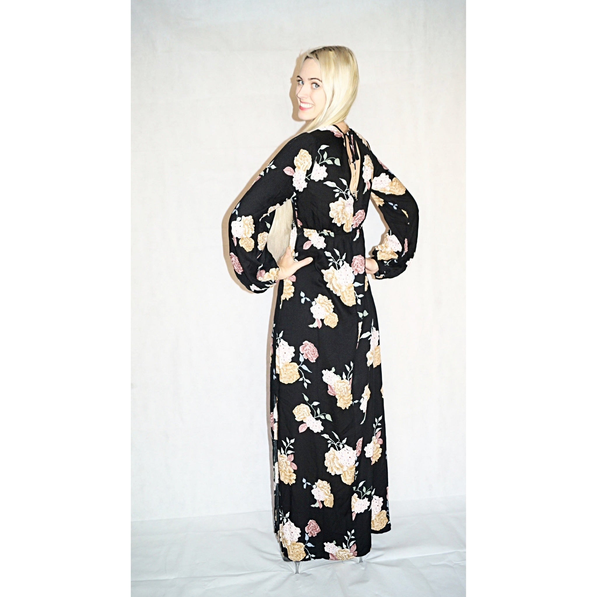 SALE ! Galina Long Sleeve Floral Maxi Dress by Lovestitch - Glamco Boutique