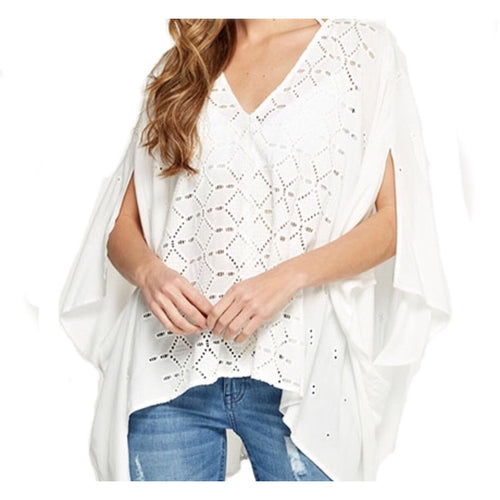 SALE ! Eyelet Kimono Top, Off White by Lovestitch - Glamco Boutique