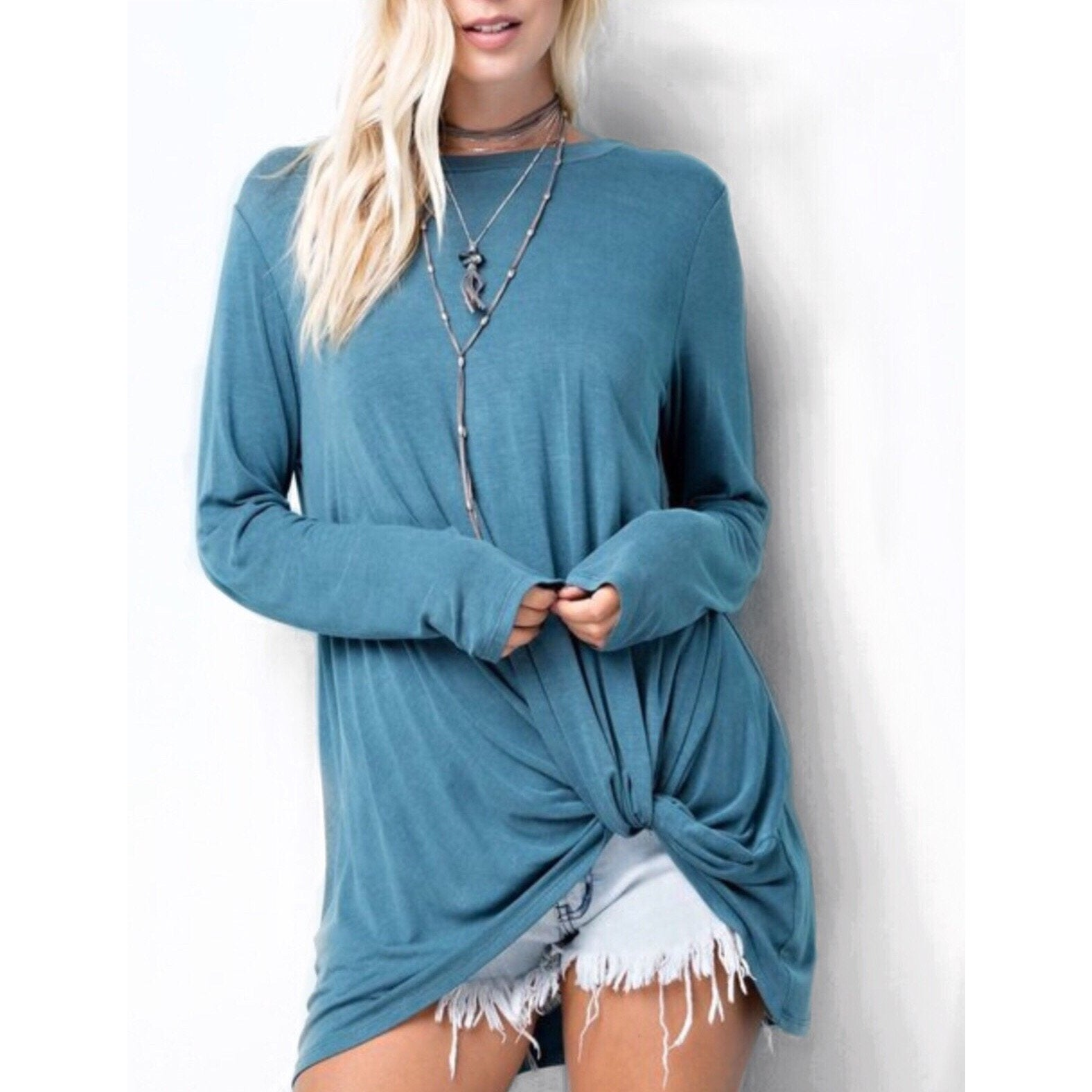 SALE ! Dylan Knotted Pullover Top, Sea Blue - Glamco Boutique