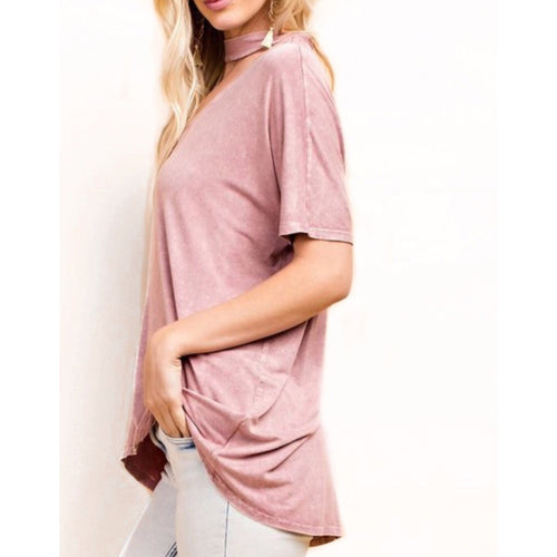 Samantha Mock Neck T Shirt  Top