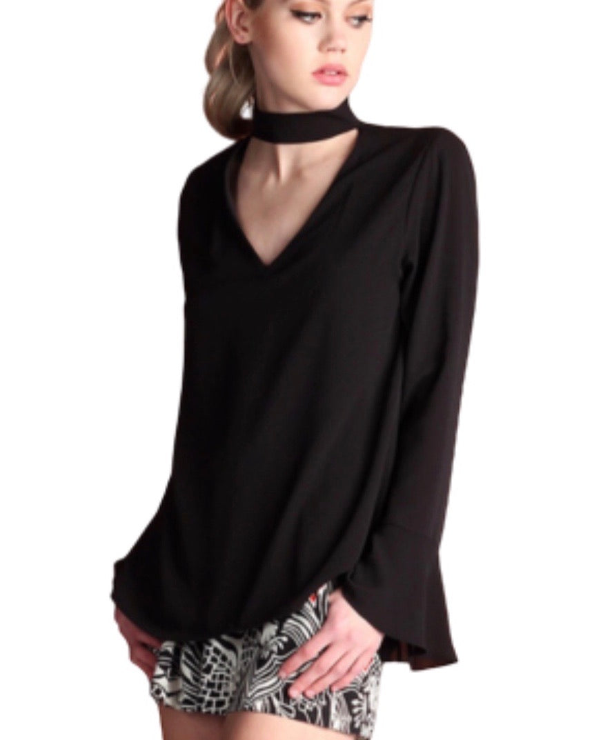 SALE ! Diana Choker Neck Long Sleeve Top