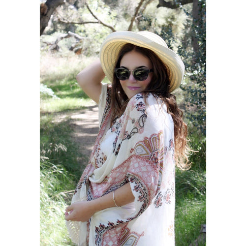SALE! Opal Kaftan Top, Natural/Spice ( Sold Out ) - Glamco Boutique