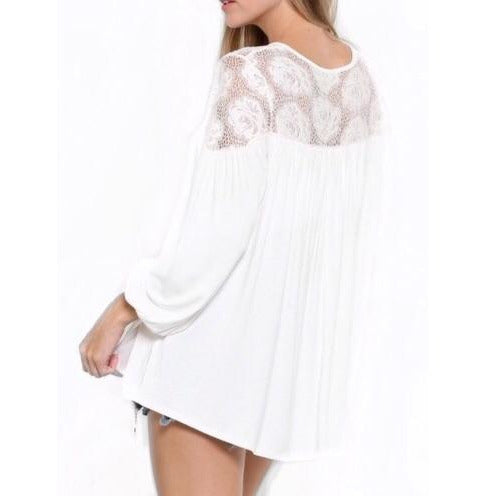 Estrella Bohemian Lace Top In Off White