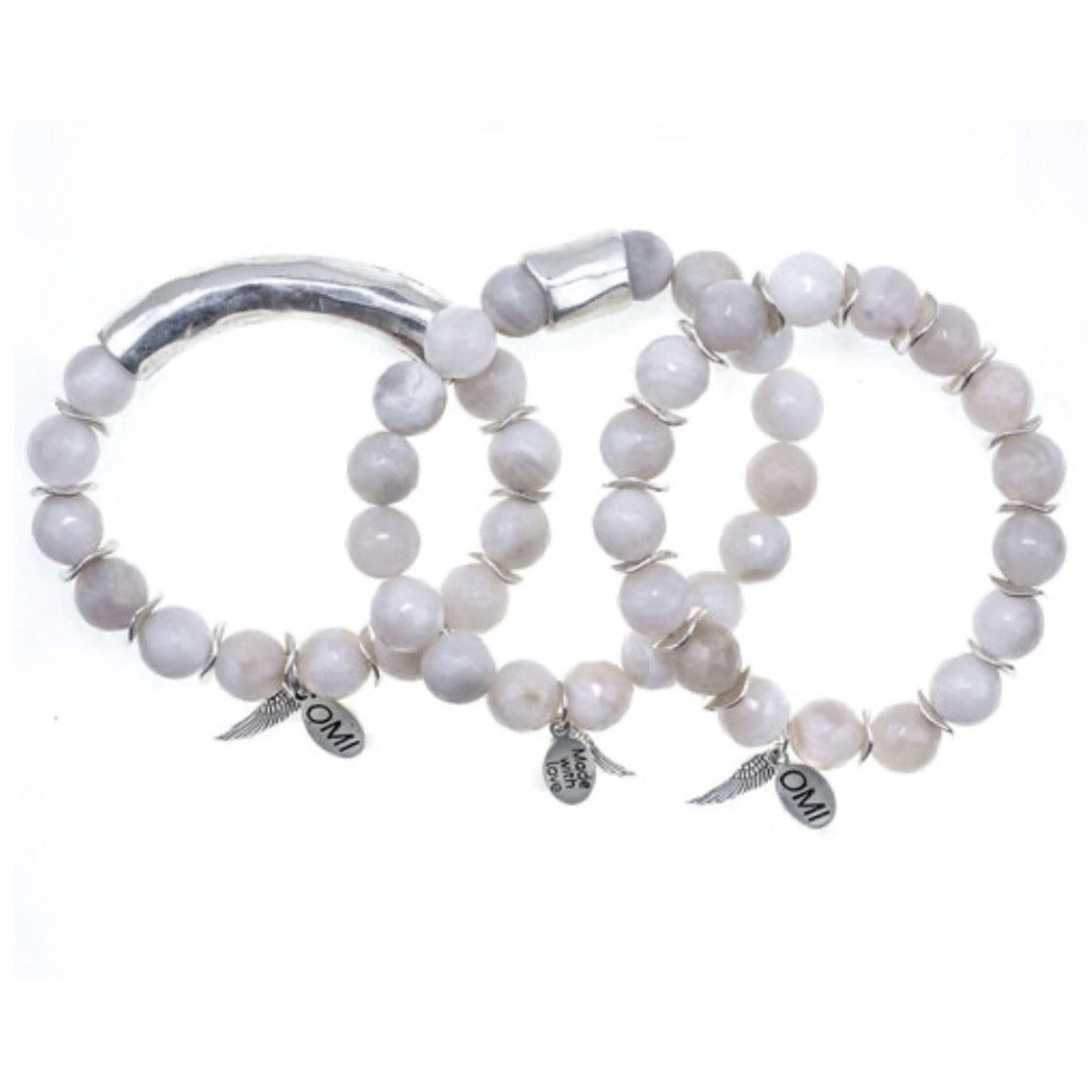 Sold Out ! Blanca Bracelet Trio Set In Silver by Omi Beads - Glamco Boutique
