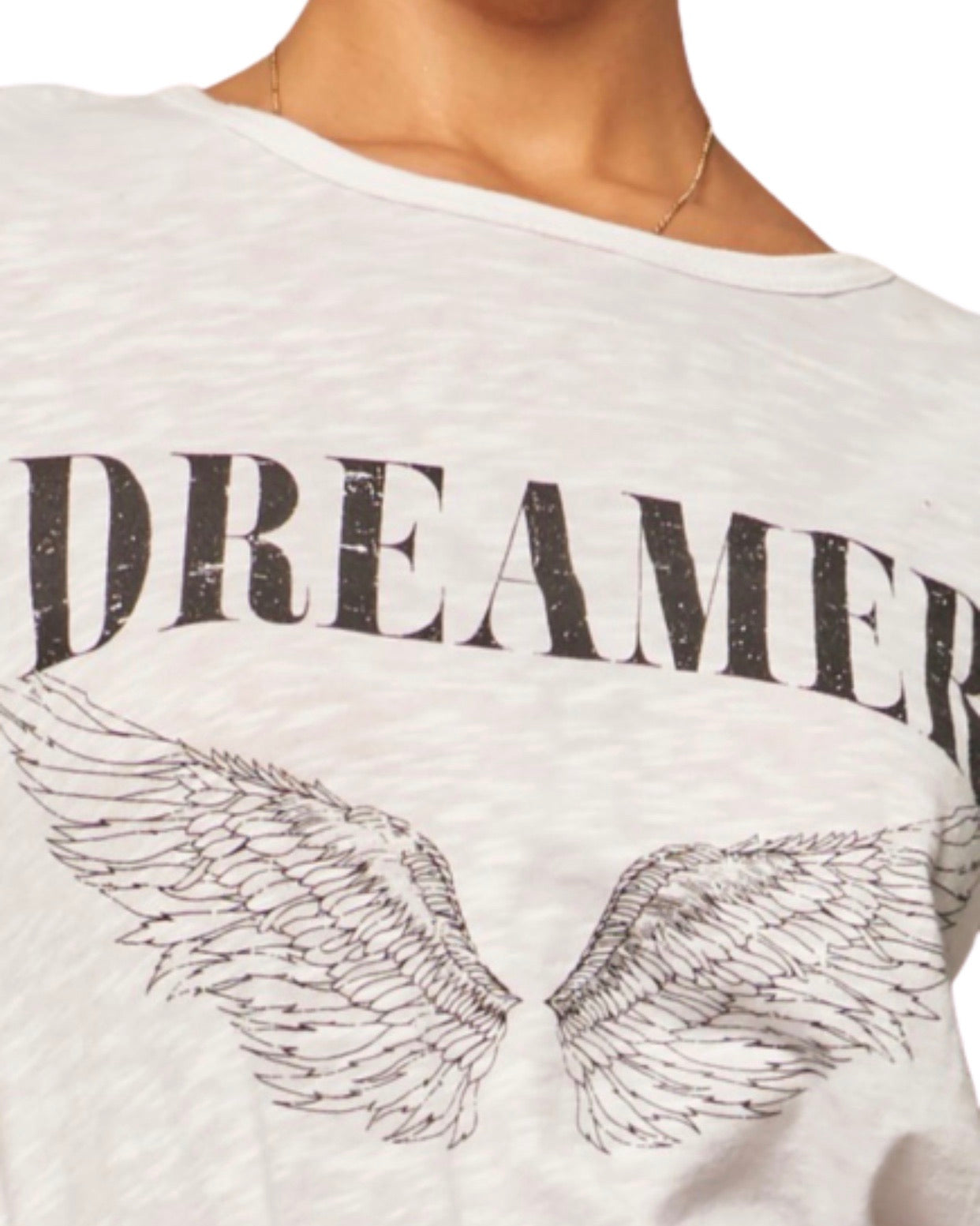 New ! Dreamer Angel Wings Vintage Print Graphic T -Shirt Top - Glamco Boutique