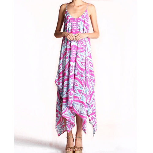 Giselle Midi Dress in Pink Ikat