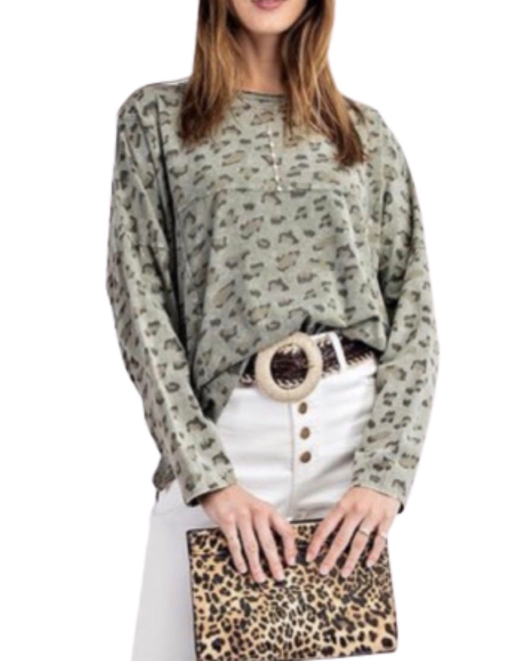 New ! Shannae Faded Olive Leopard Print Top - Glamco Boutique