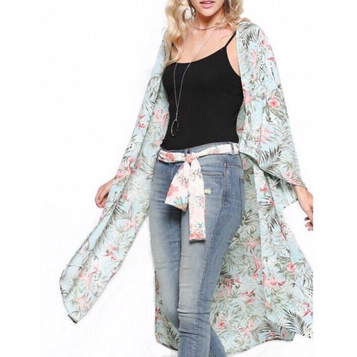 Leilani Tropical Print Kimono in Light Sage