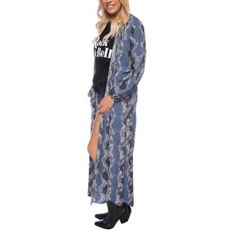 SALE ! Tamara Kimono Duster in Blue by BuddyLove - Glamco Boutique